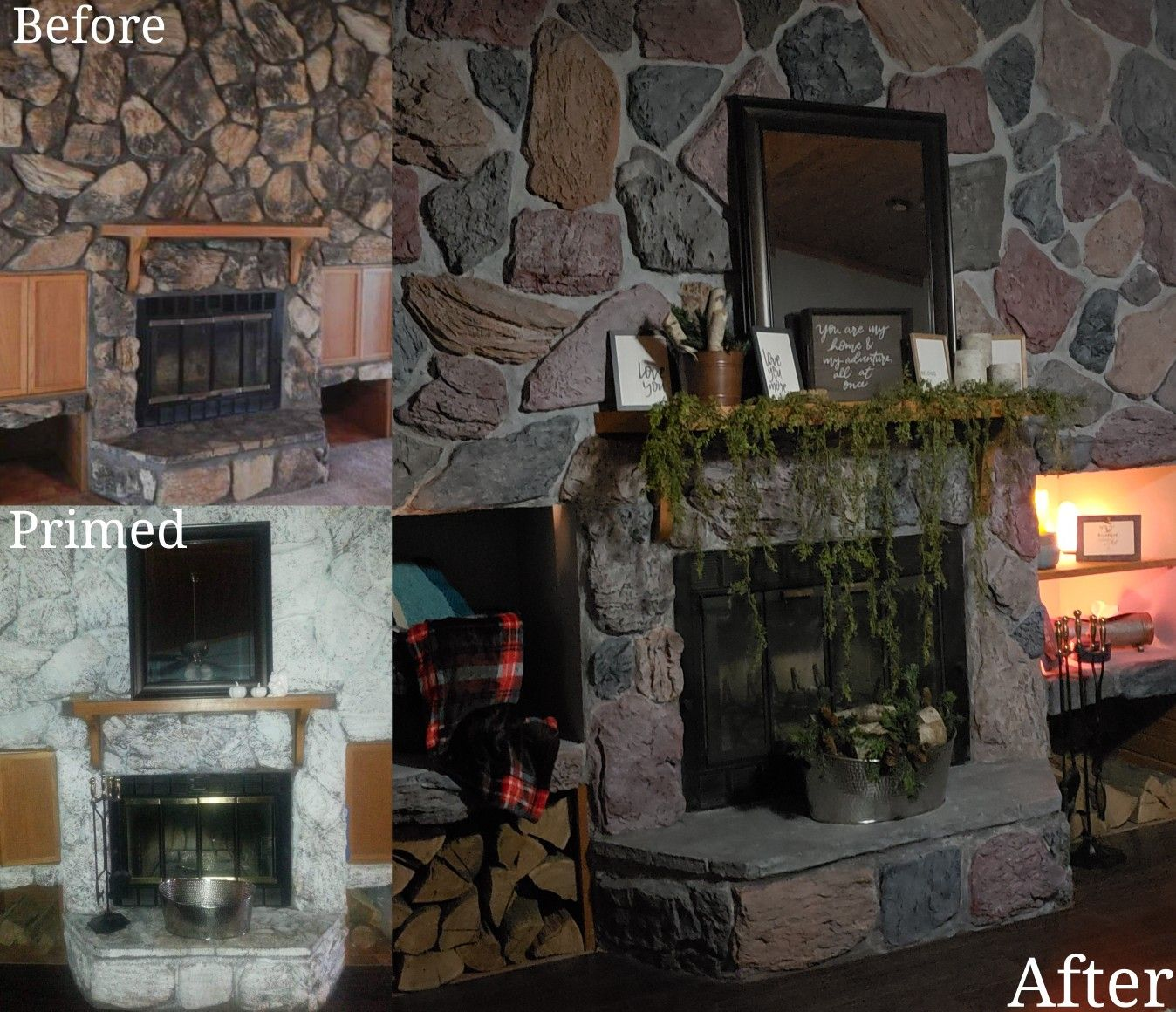 Before and after fireplace stone makeover we primed and