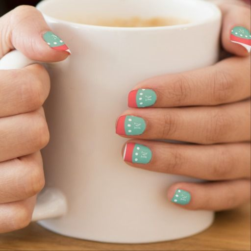 Coral White Stripes Pattern, Mint Green Monogram Nail Wraps