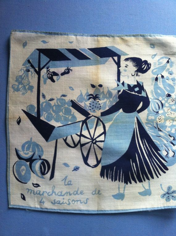 Vintage MCM French Hankie Woman Fruit & Veg Vendor by drcarrot, $18.00