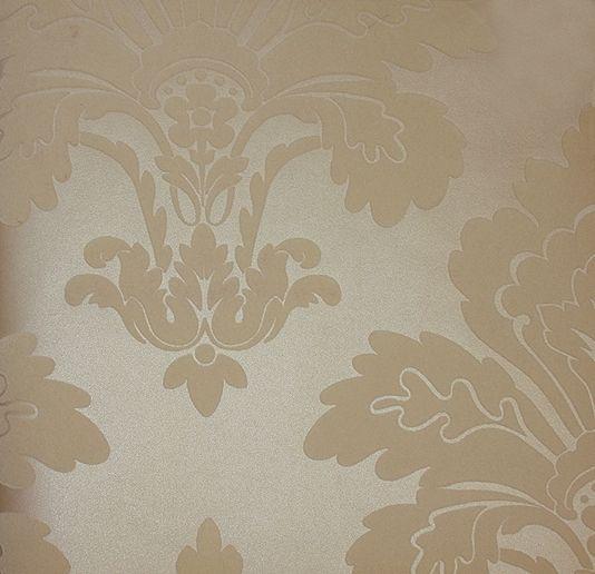 Fleur de lys court damask style flock wallpaper in dark cream on a beige mica background - Cream flock wallpaper ...