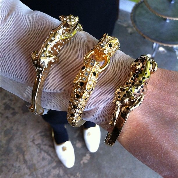 Three Vintage Cartier Panther Bracelets Stacked Accessorize