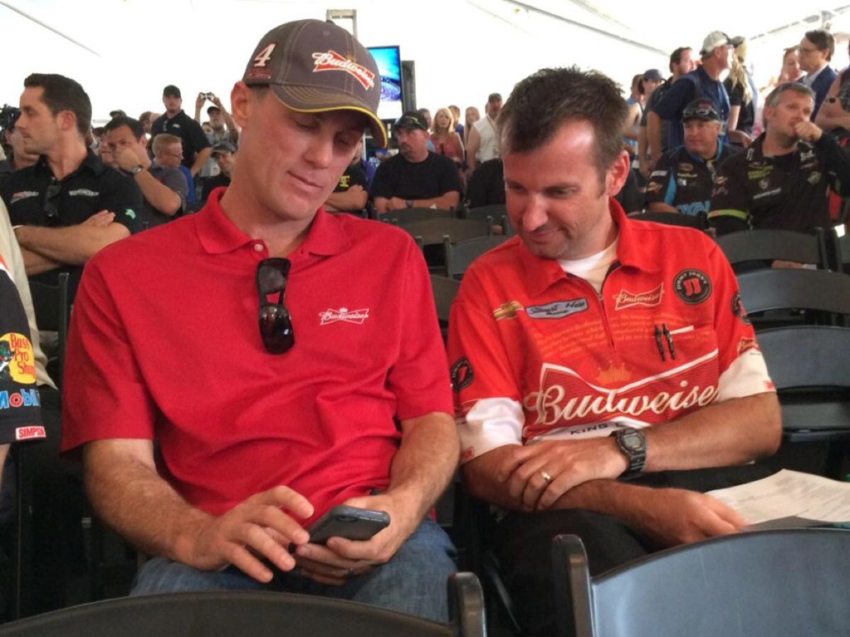 @SunocoRacing: Hey @KevinHarvick and @RodneyChilders4, stop checking Twitter! It's time for the drivers meeting @RIRInsider! #NASCAR
