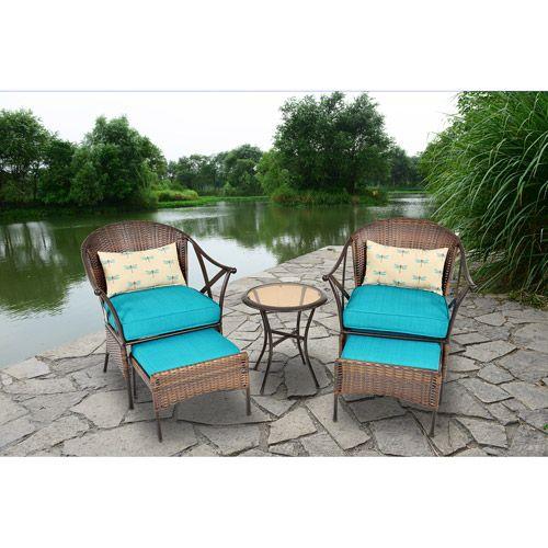 Mainstays 5 Piece Skylar Glen Outdoor Leisure Set, Blue, Seats 2: Patio