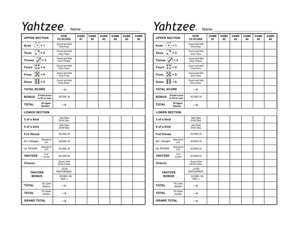 picture about Printable Yahtzee Score Sheets 4 Per Page named Yahtzee Rating Card Template Game titles and This sort of Yahtzee rating