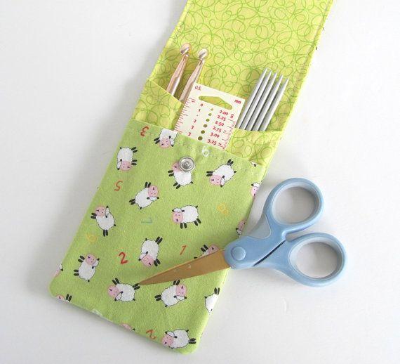 Knitting Needle Case, Lambs Crochet Hooks Holder, DPNs, Circular Needle Case Lime Needles Storage Case