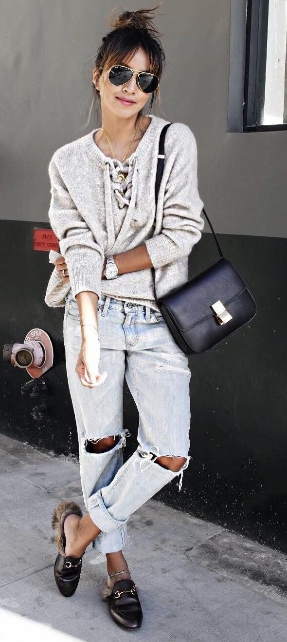 #preppy #fashion / Grey Laced Up Sweater // Destroyed Jeans // Black Loafers