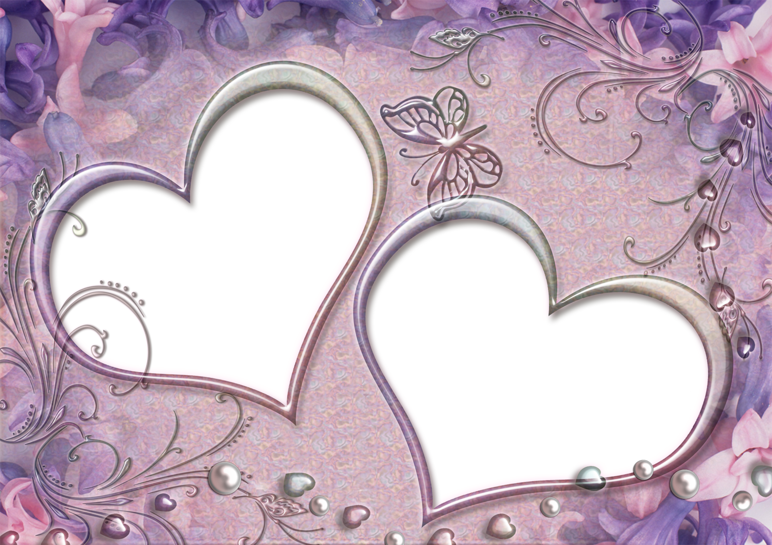 Purple Heart Frames | Two Hearts Frames on Purple Background Theme ...