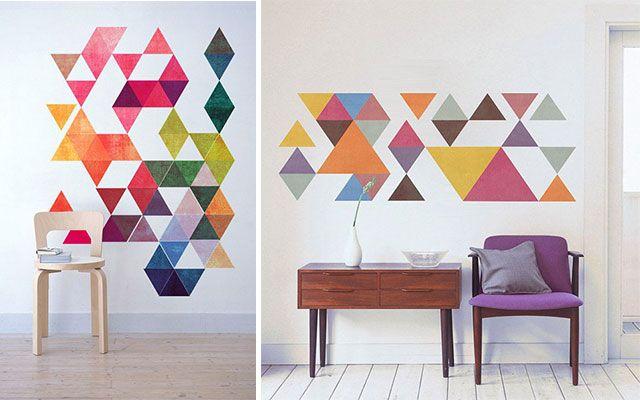 Ideas para pintar paredes con tri ngulos for Ideas para pintar paredes