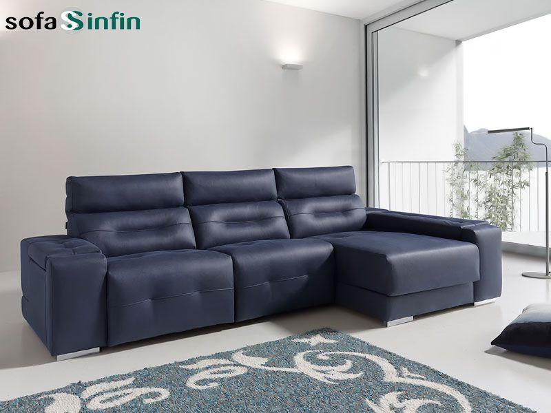 Sofá relax de 3 y 2 plazas con chaise longue modelo Ash fabricado