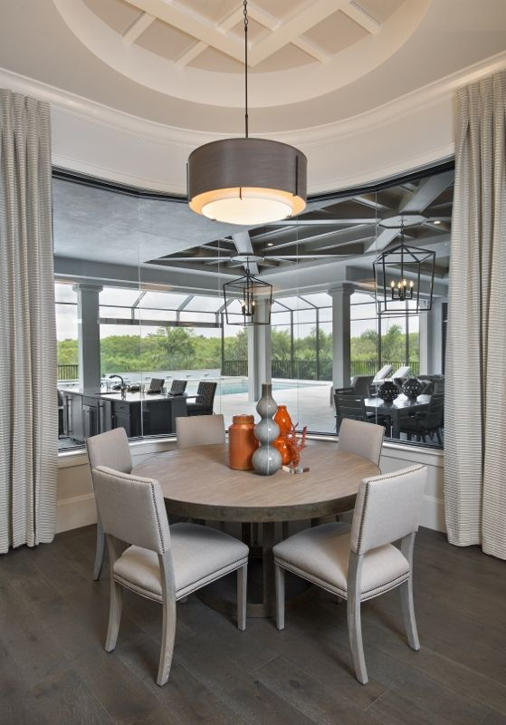 This Dining Area Showcases A Light Color Palette And Combines Off White And  Soft Grays · West Indies ...
