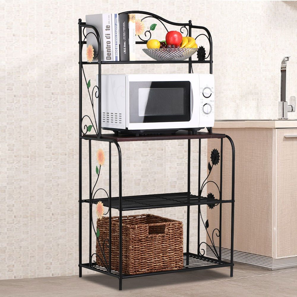 4 Tier Bakers Rack Black Metal Kitchen Storage Shelf Stand