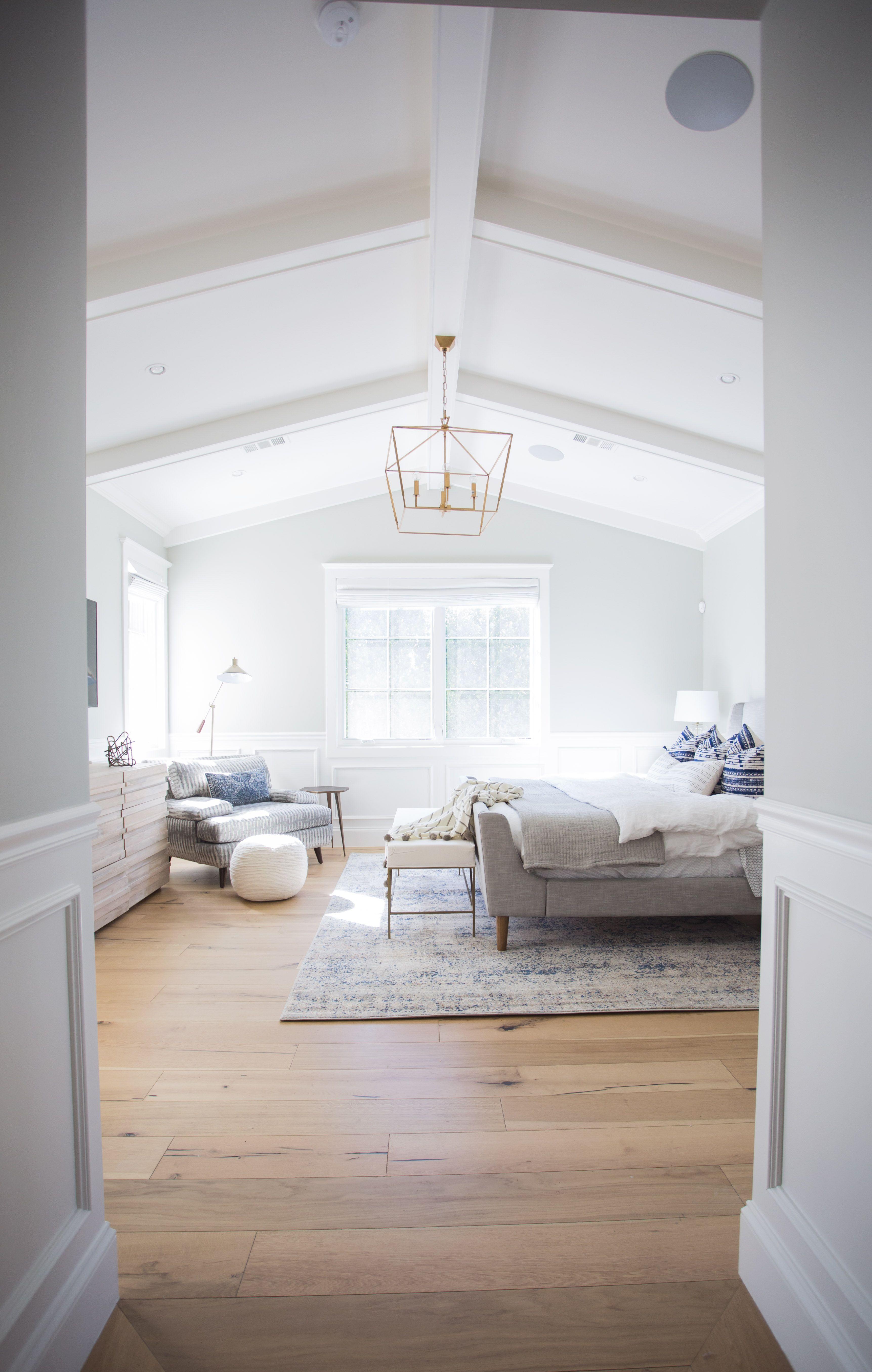 vaulted, ceiling, master bedroom, brass chandelier, board ...