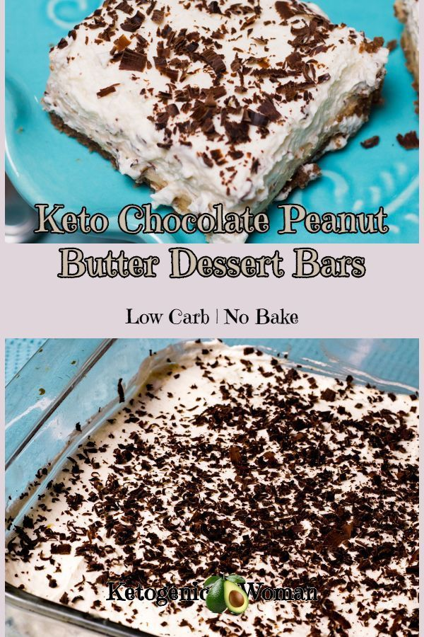 No Bake Keto Low Carb Chocolate Peanut Butter Cheesecake Dessert Bars.