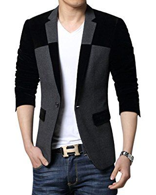 LANBAOSI Mens One Button Casual Printing Blazer Jacket Stylish Sport Coat