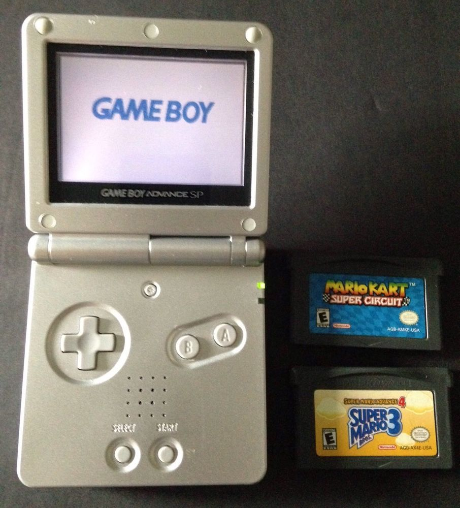 Nintendo Gameboy Advance Sp Platinum Silver Super Mario Bros 3