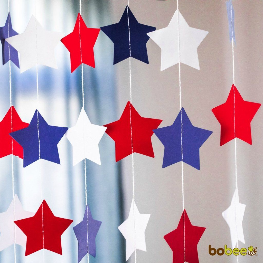 Red White and Blue Star Garland 4th of July Party Decorations ...
