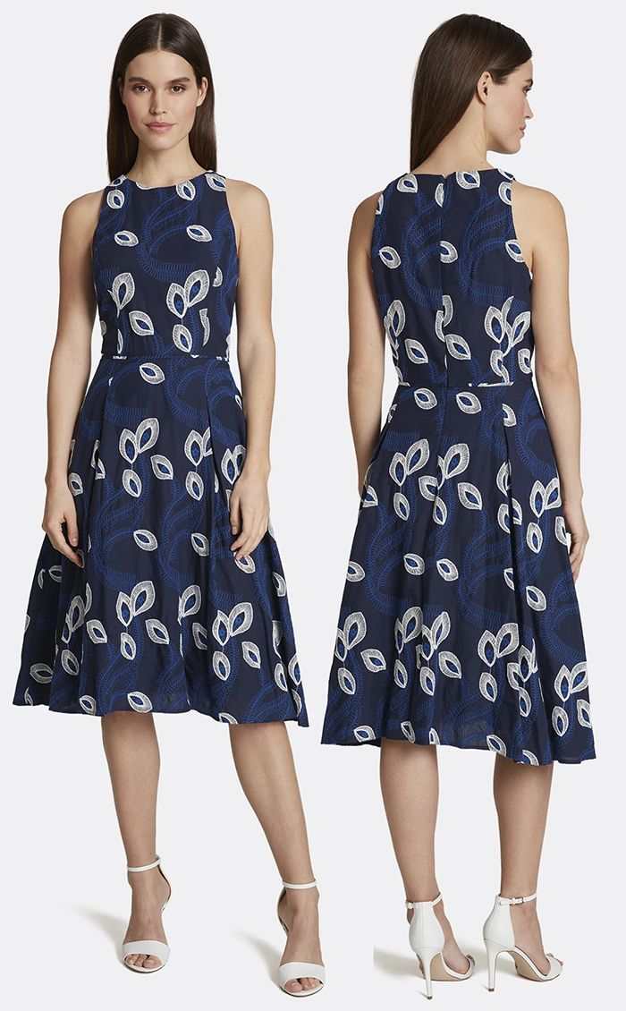 Embroidered Vine FitandFlare Dress. Blue Dress for Fall