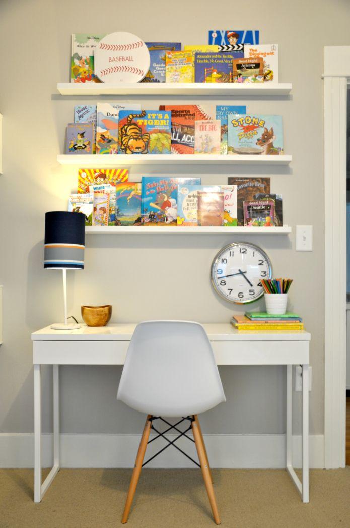 Kid room book ledges ikea besta burs desk and white - Besta kinderzimmer ...