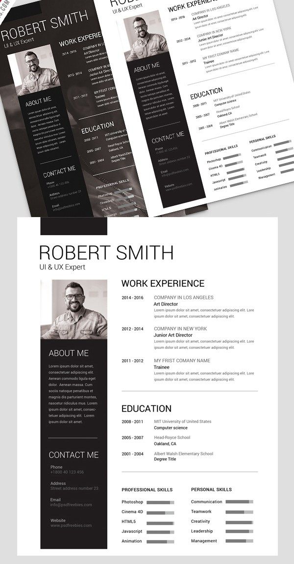 Simple and Clean Resume Free PSD Template Шаблон резюме