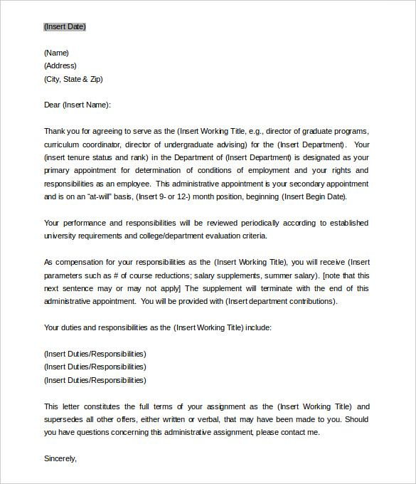 Free Templates For Letters Brilliant Appointment Letter Templates Free Sample Example Format Samples .