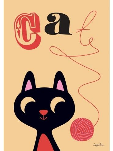 Ingela Arrhenius Poster Print Cat With Yarn Uk Omm Design Bimbily Cat Posters Cats Illustration Yarn Art