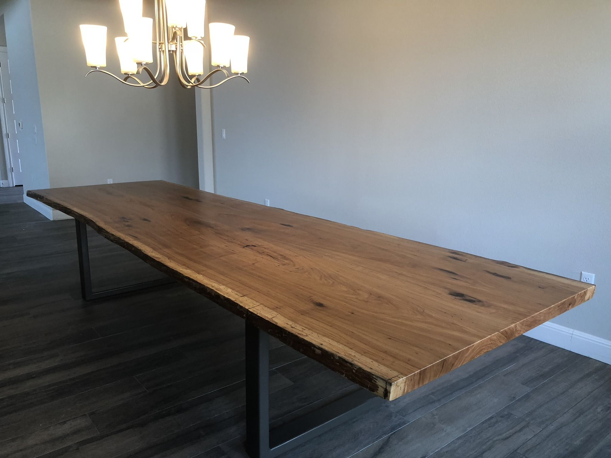 12 Pecan Slab Dining Table With Metal Legs Slab Dining Tables