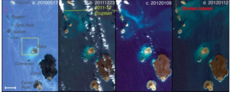 Satélites coger el nacimiento de dos islas volcánicas