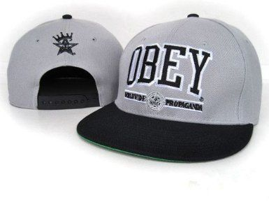 Obey Caps hats Snapback (Gray with Black Logo) by Obey c34ee0733885
