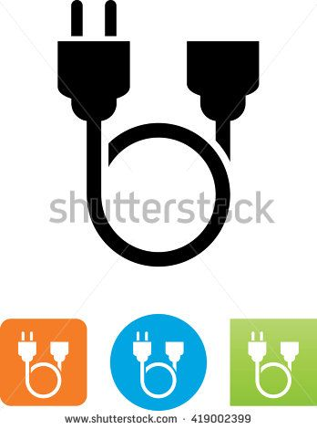 Looping Two Pronged Power Cord Symbol Power Cord Power Cord
