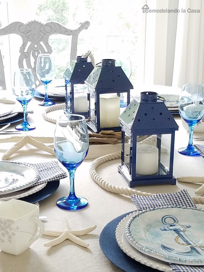 Blue And White Coastal Tablescape Beach Dining Room Dining Room Table Centerpieces Beach Dining