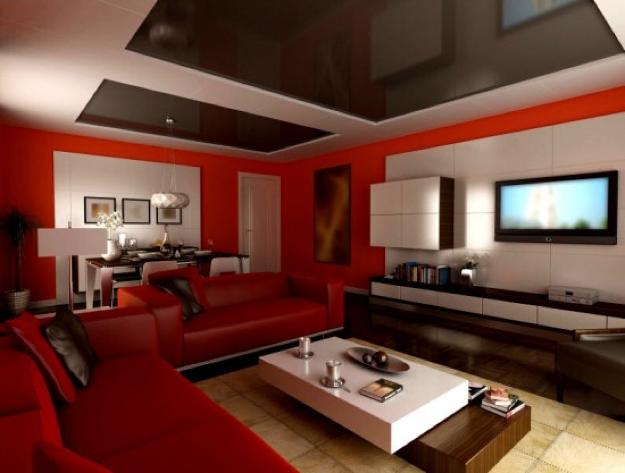 Paint Colors Astounding Small Modern Red Living Room Ideas With Mirrored Glass Ceiling L Shape Leather Sectional Sofa Stylish Coffee Table
