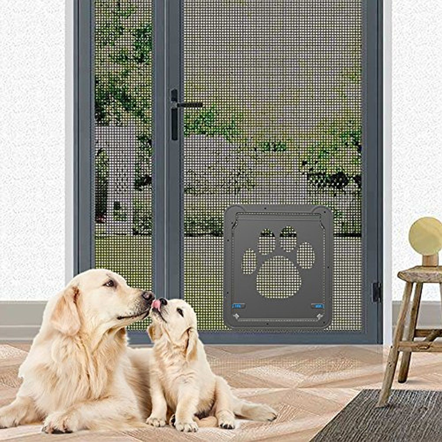 Pevor Pet Dog Door Pet Screen Door Automatic Locklockable Cat
