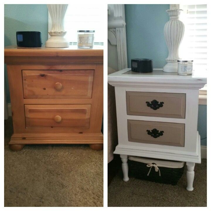 Nightstand before and after. We had to add legs to match the height ...