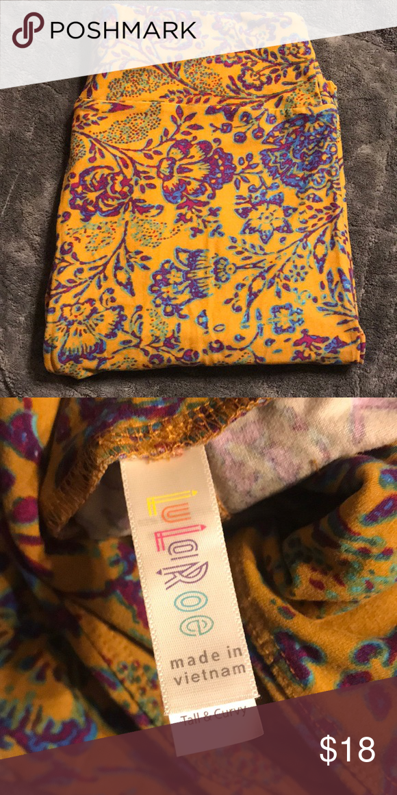 Nwot Lularoe Tc Leggings Lularoe Tc Leggings Buttery Soft Material Background Is Mustard Yellow With A Pur Leggings Are Not Pants Blue And Purple Tc Leggings