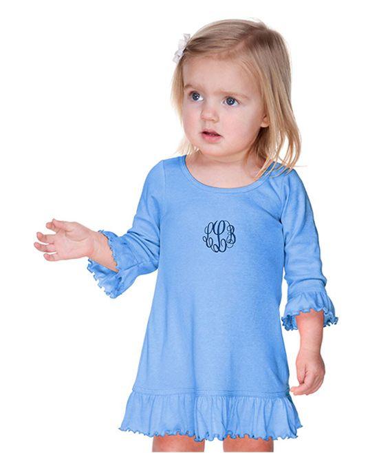Blue Monogram Ruffle Dress - Infant Toddler & Girls