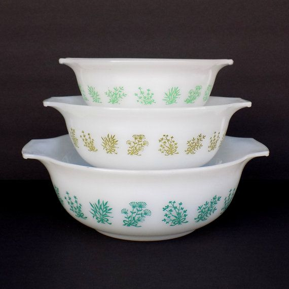 Vintage Glasbake Nesting Bowls - Milk Glass Graduated Mixing Bowls ...