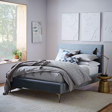 Andes Deco Upholstered Bed, Full, Astor Velvet, Rust, Light Bronze ...