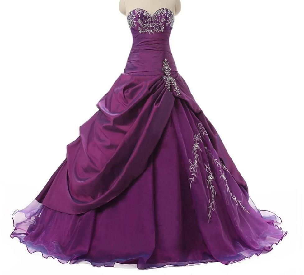 Ruched Purple Quinceanera DressesWith Embroidery Beaded Ruffles Masquerade Ball Gown