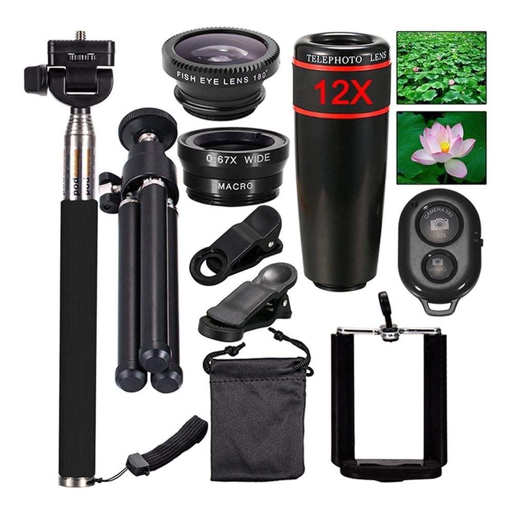 Mini Camera Mobile Phone Lens Kit 12x Zoom Telephoto Lenses For