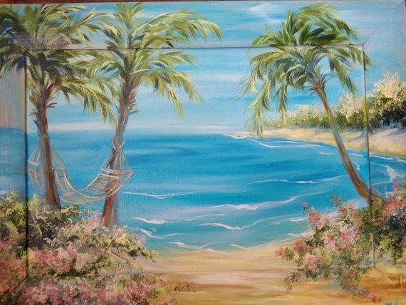 Beach Palms Seascape Original Oil Painting Canvas Tropical Art Impasto Ocean Painting Colorful Landscape 3d Painting Cozy Home Natural Home Decor Colorful Landscape Ocean Painting