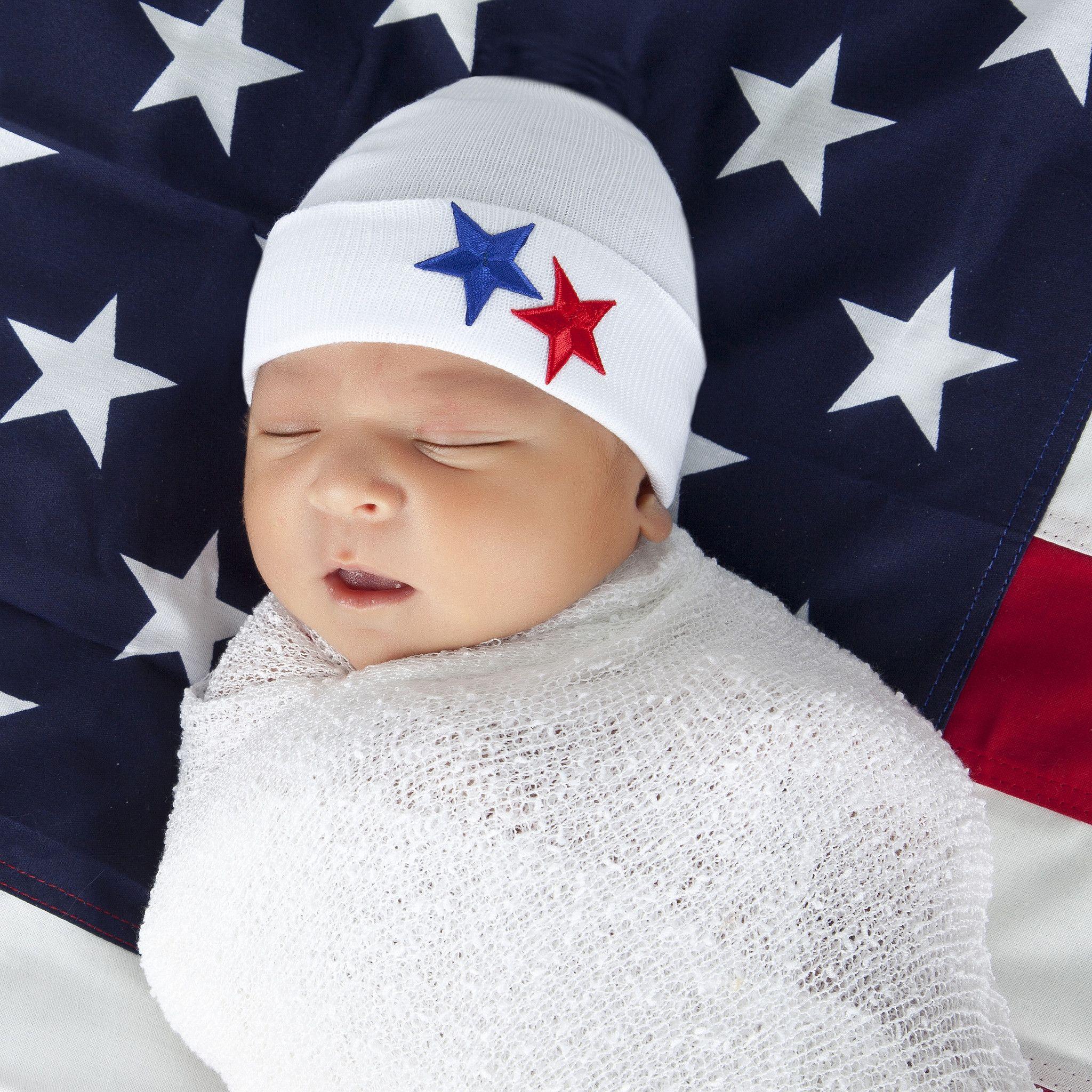 American Stars Newborn Boy Hospital Hat | Boy hospital hat ...