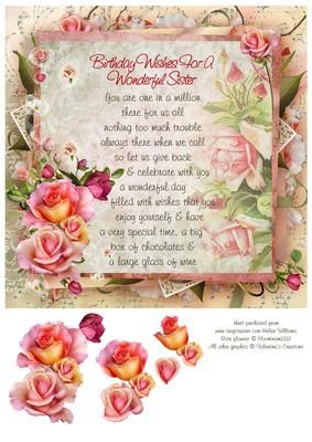 Pink Rose Sister Birthday Verse 8x8inch Step By On Craftsuprint Designed Helen Williams