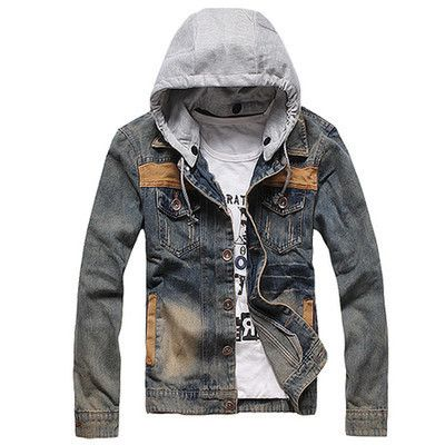 db62ce26f6cc Mens Vintage Classic Denim Hooded Jean Jacket Hoody Coat Detachable Cap |  eBay