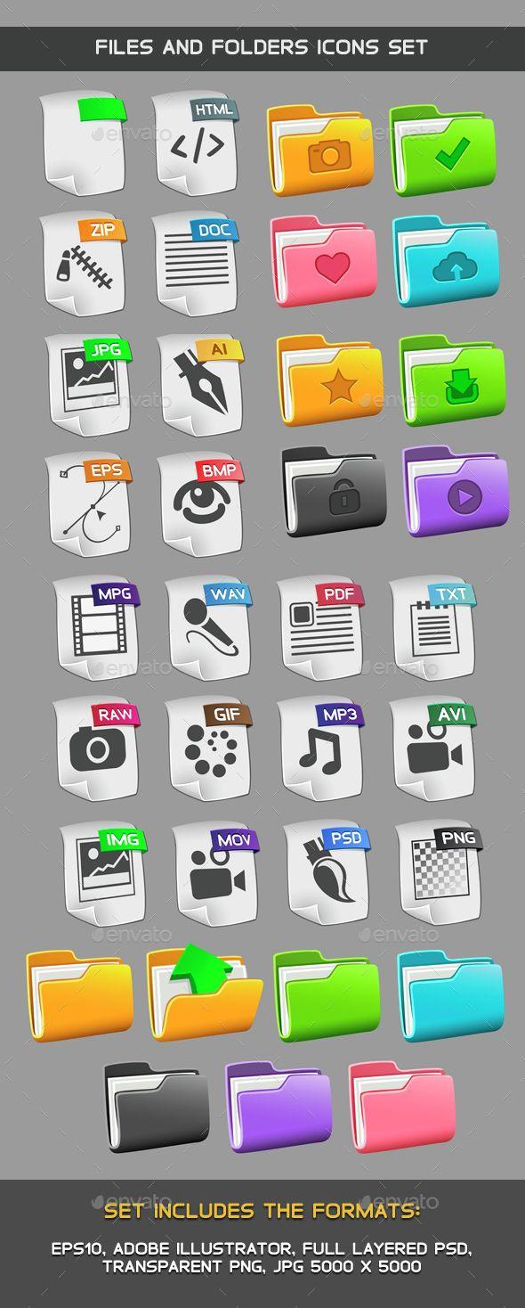 Files and folders icons set Folder icon, Icon set