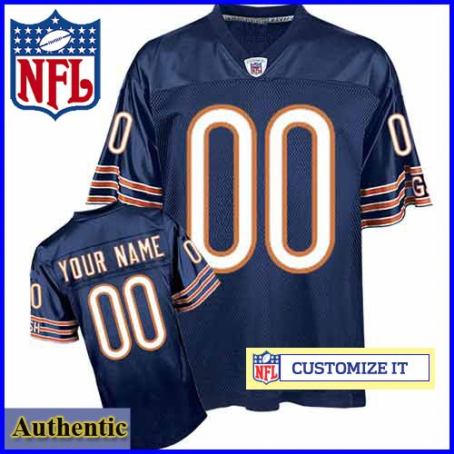f4a65cac711 Chicago Bears RBK Style Authentic Home Blue Jersey (Pick A Player) - Custom  Made Sports Jersey