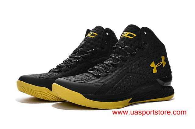 011794d8 Under Armour Icon Curry 1 Customized Black Yellow Men's UA Basketball Shoes