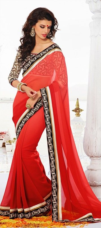 1587009b726d5e 148971, Party Wear Sarees, Embroidered Sarees, Faux Georgette, Lace, Red and