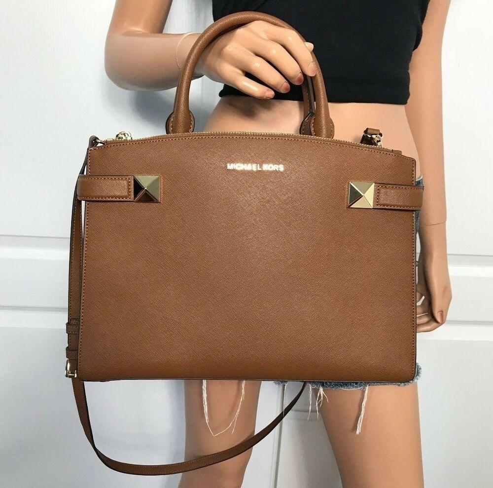 4998e668760be0 NWT Michael Kors Bag Leather Medium Crossbody Handbag Purse Brown Luggage  Gold #MichaelKors #Satchel