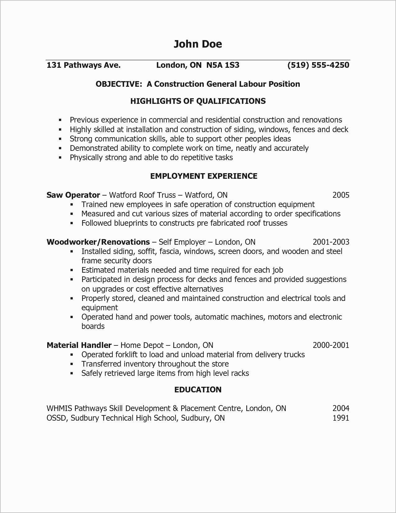 Construction Laborer Resume Unique General Labor Examples
