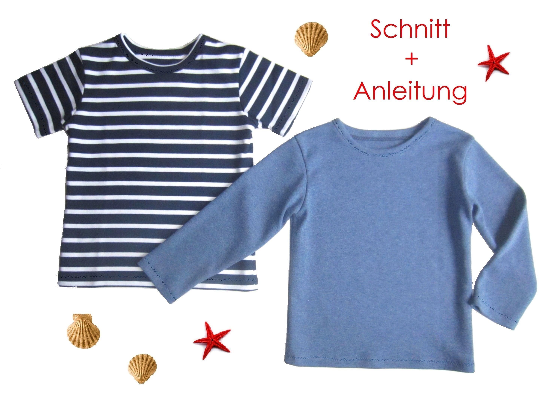 Schnitt Anleitung Kinder T Shirt Gr 92 128 Langarm Kurzarm Lunicum Schnittmuster Kinder Kinder T Shirt Nahen Fur Kinder